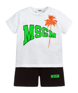 White & Black Shorts Set