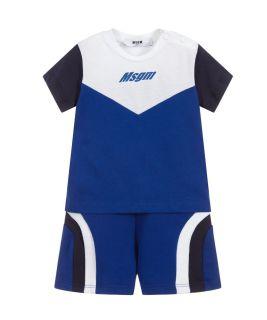 Blue & White Cotton Shorts Set
