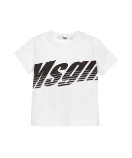 White Cotton Logo T-Shirt For Boys