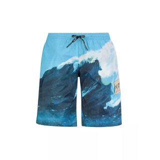 Waves Print Nylon Swim Shorts