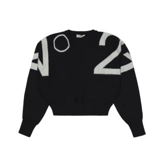 Intarsia Wool Blend Knit Black Sweater For Girl