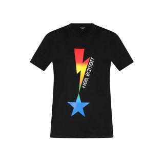 Lightning Bolt Print T-shirt -Black