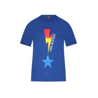 Lightning Bolt Print T-shirt -Blue