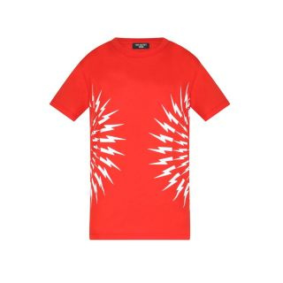 Lightning Bolt Print T-shirt - Red