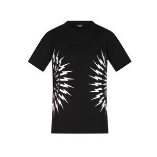 Lightning Bolt Print T-shirt - Black