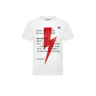 White Thunderbolt Definition Print T-shirt