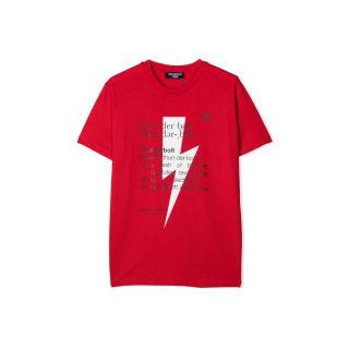 Red Thunderbolt Definition Print T-shirt