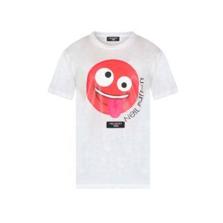 White Smiley Print T-shirt