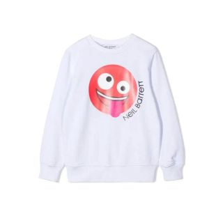 White Smiley Print Cotton Sweatshirt