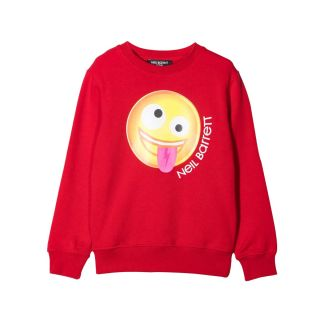 Red Smiley Print Cotton Sweatshirt