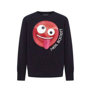 Blue Smiley Print Cotton Sweatshirt