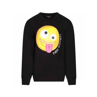 Black Smiley Print Cotton Sweatshirt