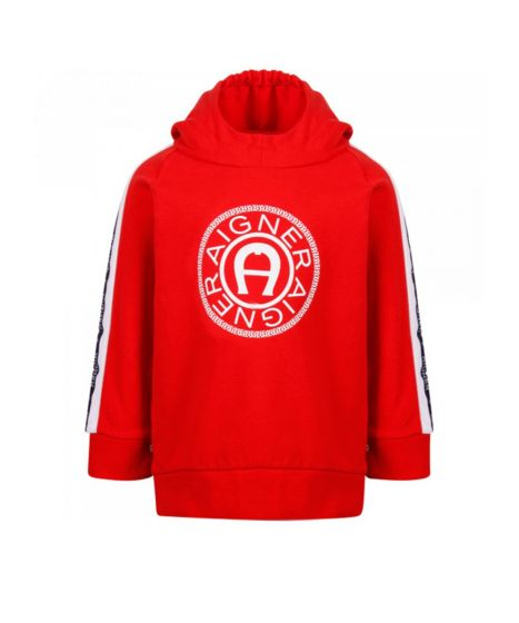 Boys Red Cotton Hoodie