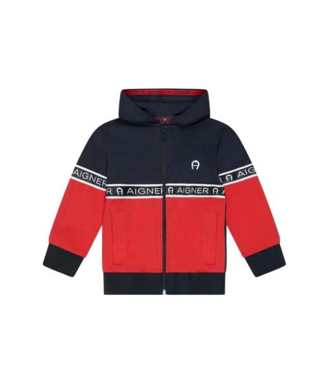 Boys Navy Blue & Red Cotton Hoodie
