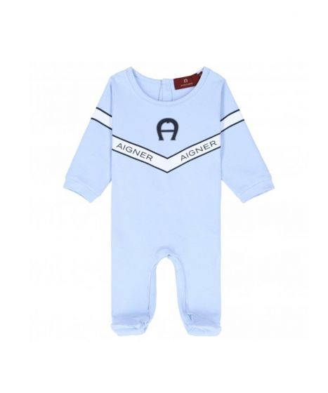 Blue Pima Cotton Logo Babygrow