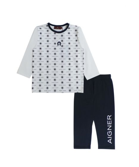 Ivory Printed T Shirt With Navy Blue Blue Bottoms