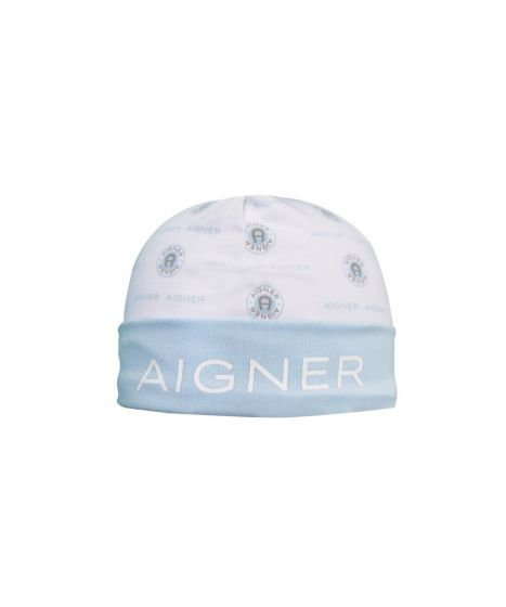 Logo Print Cap In Blue and White