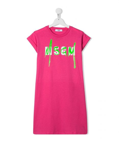 Pink Cotton Logo Dress For Baby